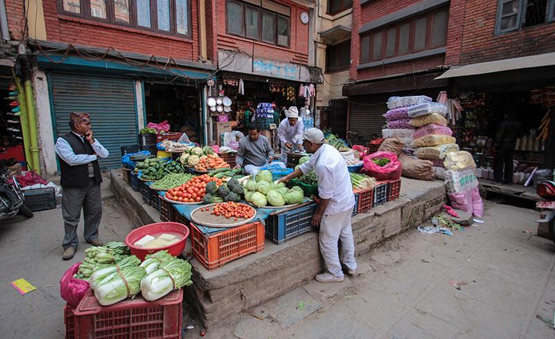 Local vegetable market at Assan. Photo: Sudan Budhathoki
