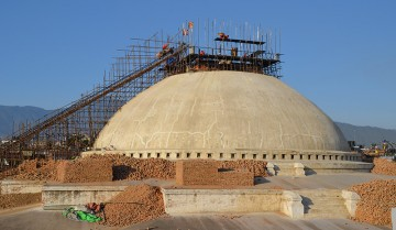 Bouddhanath Stupa under renovation after Nepal earthquake. Photo: Sudeep Singh