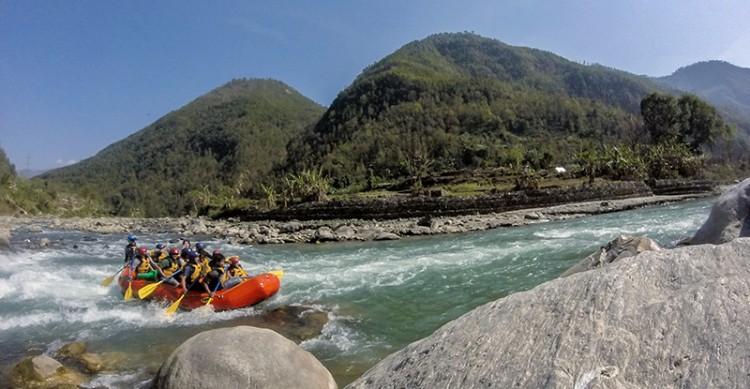 Rafting on the Bhote Kosi River. Photo: Elen Turner