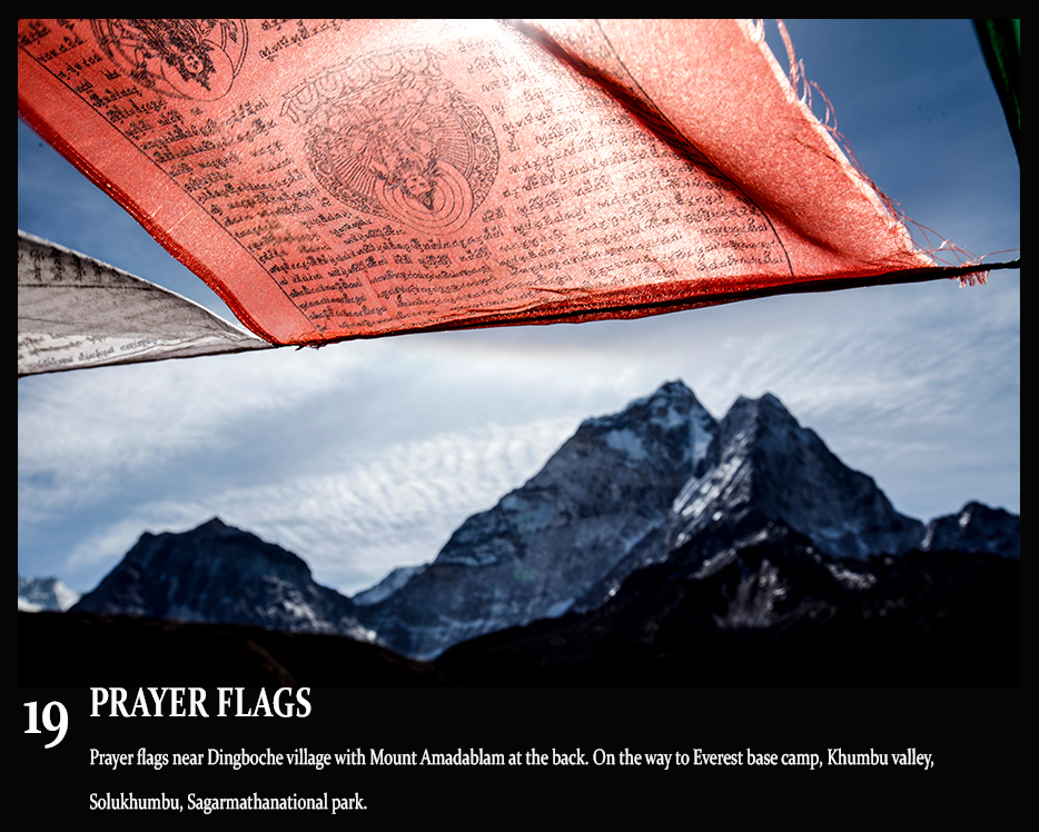 everest region, amadablam mountain and the prayer flags
