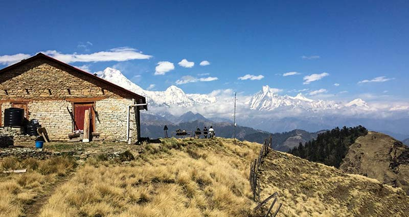 Community Hall in Mohare Danda with Annapurna range in backdrop. Photo: Elen Turner