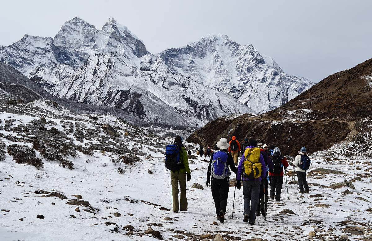 Trekkers on their way to Everest Base Camp
