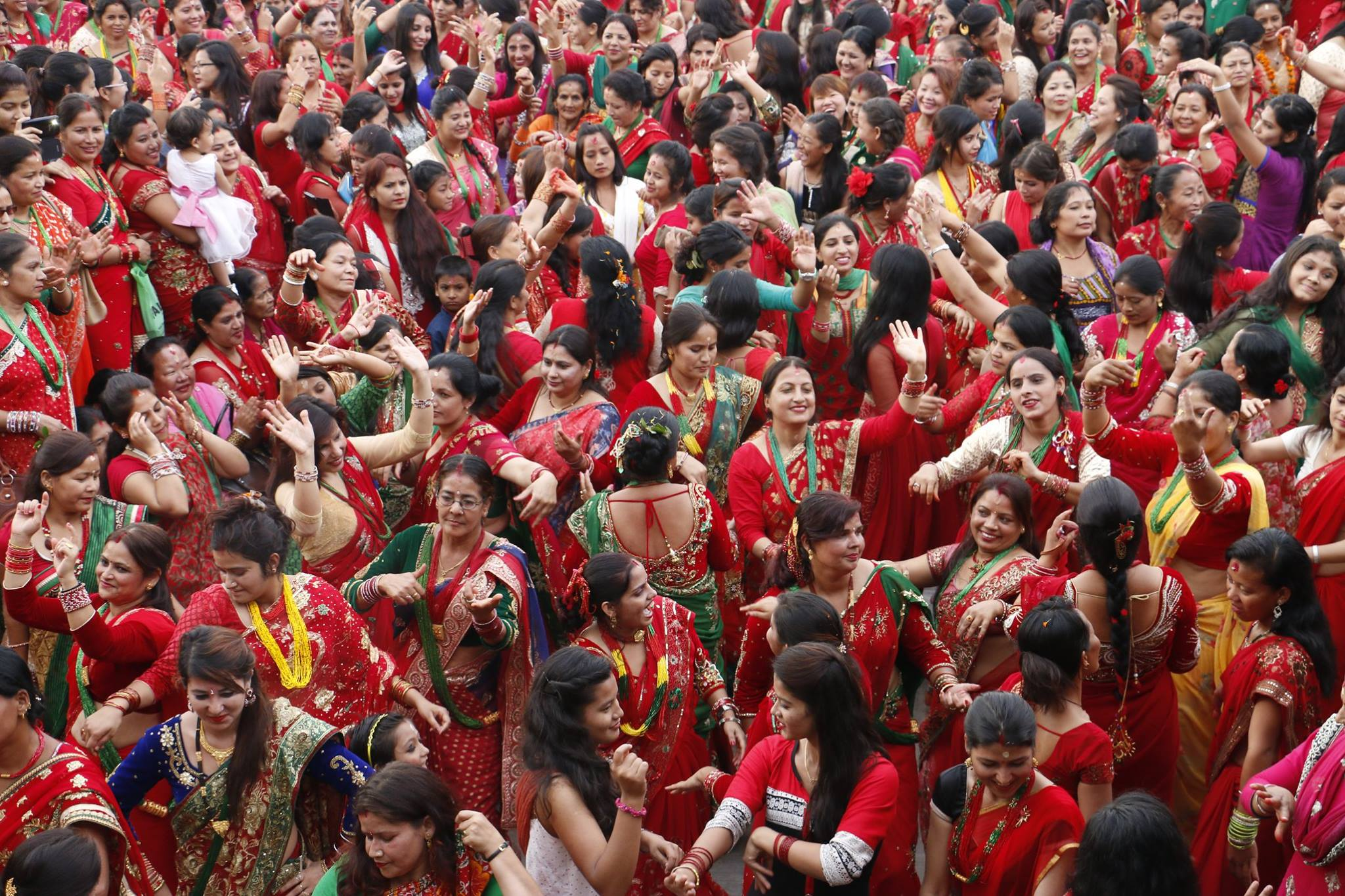 Women dancing and celebrating in Teej festival. Photo courtesy of Kapil Thapa‎