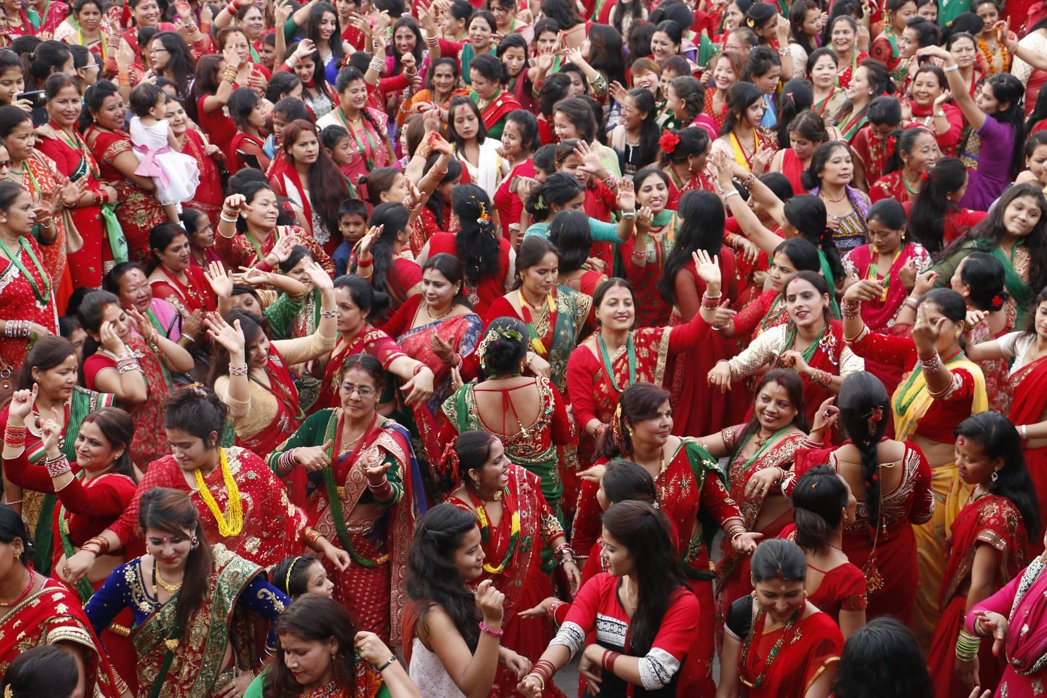 Women dancing and celebrating in Teej festival. Photo courtesy of Kapil Thapa