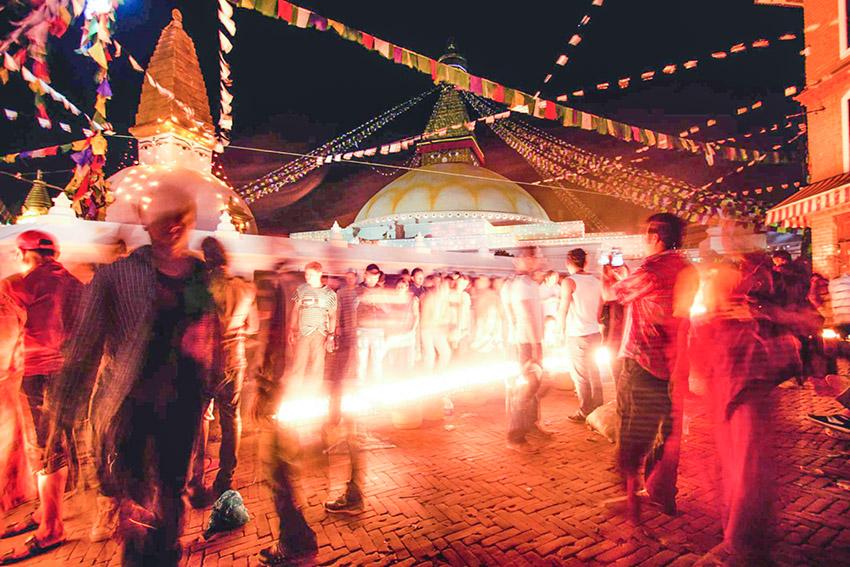 Buddhist Devotees Celebrating Buddha Jayanti in Boudhanath.