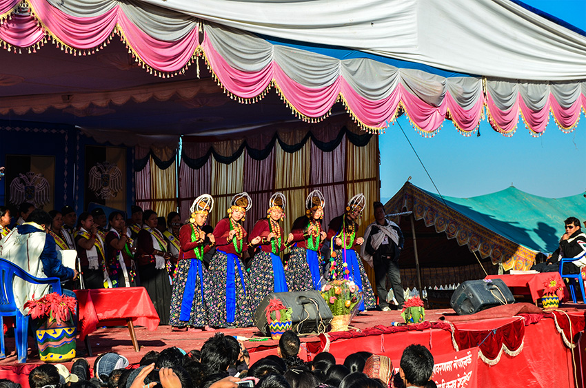 Gurung girls performing cultural dance on Lhosar Day.