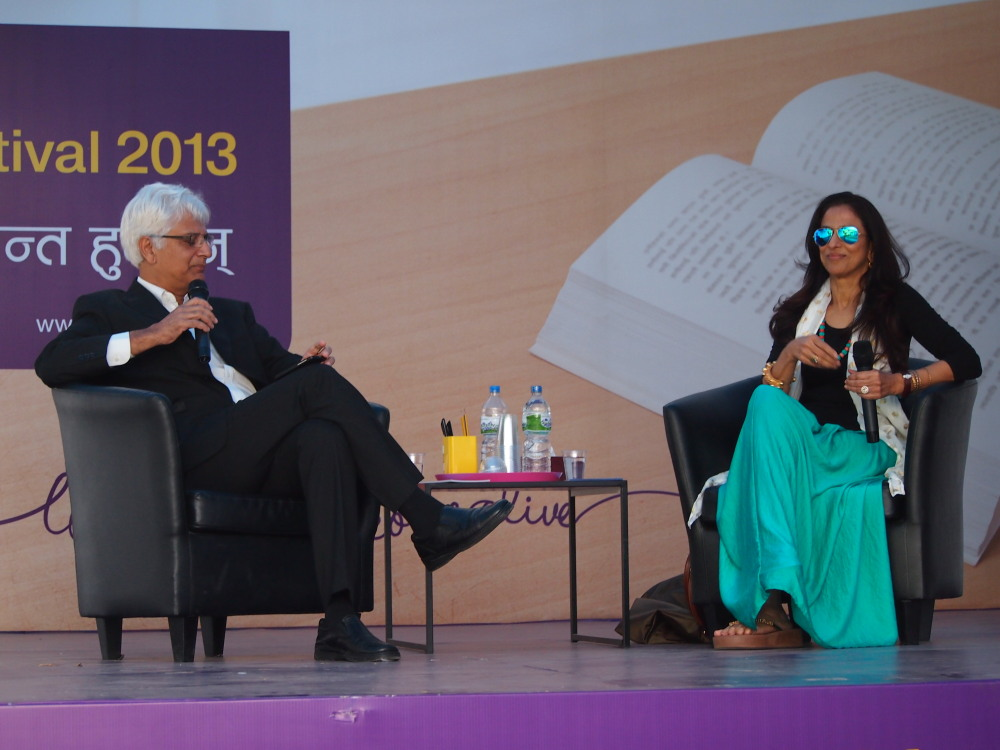 Best-selling Indian author Shobhaa De in conversation with Nepali journalist Kunda Dixit at the 2013 Nepal International Literature Festival in Kathmandu. Photo: Elen Turner