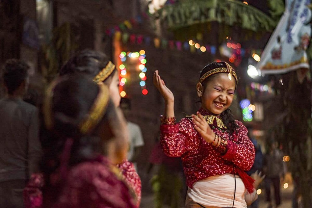 Girls singing and dancing at Deusi in Tihar. Picture courtesy of Bhas Na Veen (Facebook)
