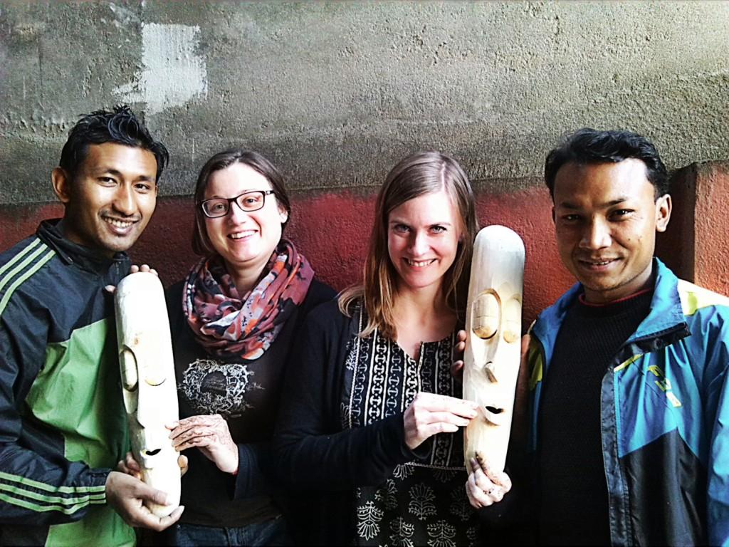 Make wodden mask in Nepal