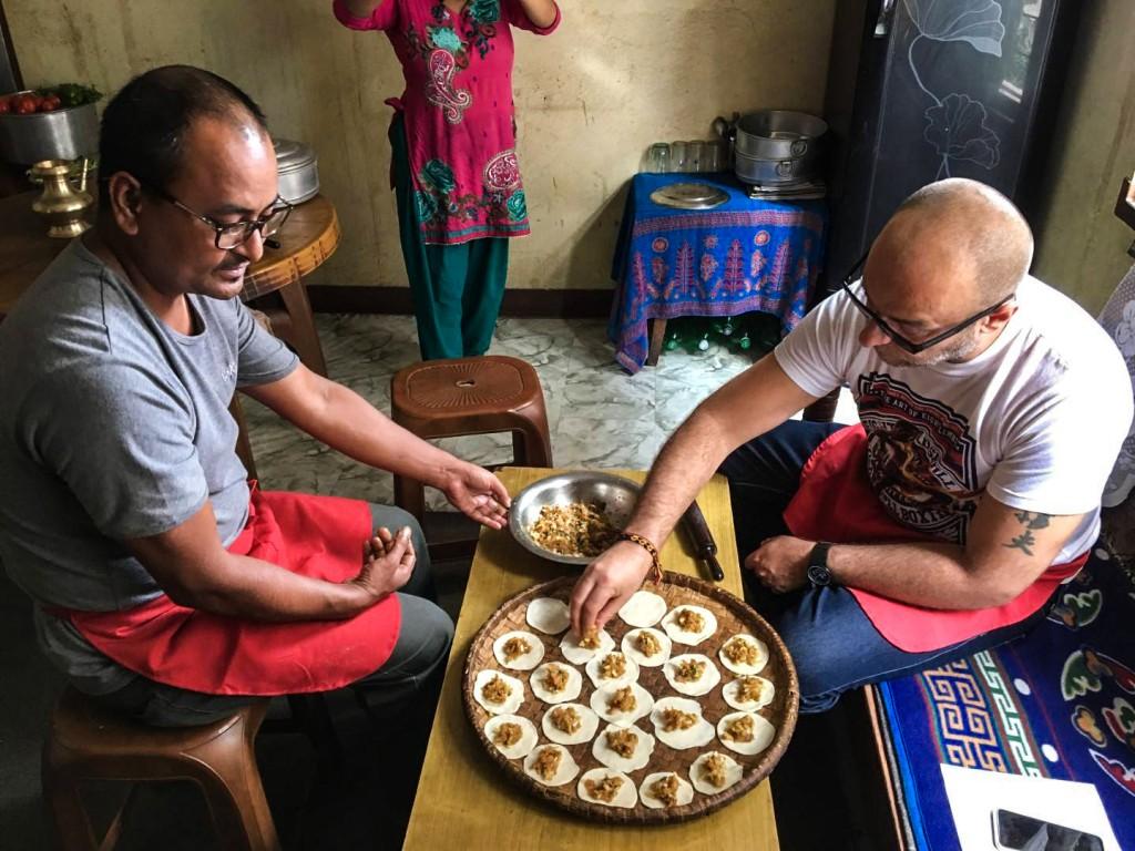 Momo making in Nepal
