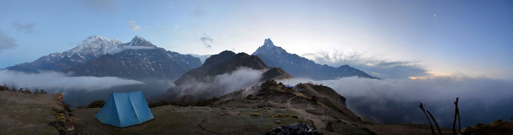 Mountain panorama Landscape in Himalaya. Sunrise, Machapuchare peak view. Nepal, Annapurna region, Mardi Himal track.