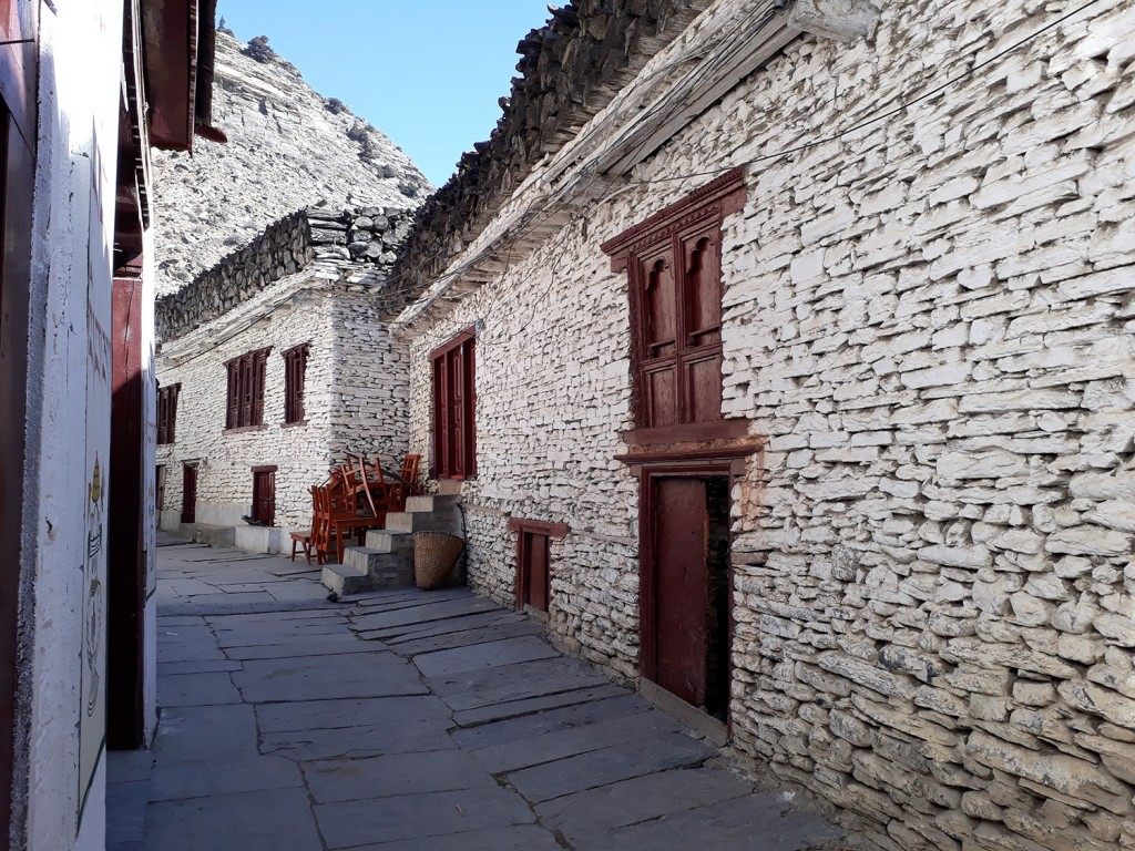 The whitewashed buildings and narrow streets of Marpha. Photo Elen Turner