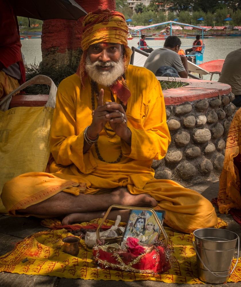 A sadhu at work at Varahi Mandir, Phewa Tal, Pokhara. Photo: Sue Hankins