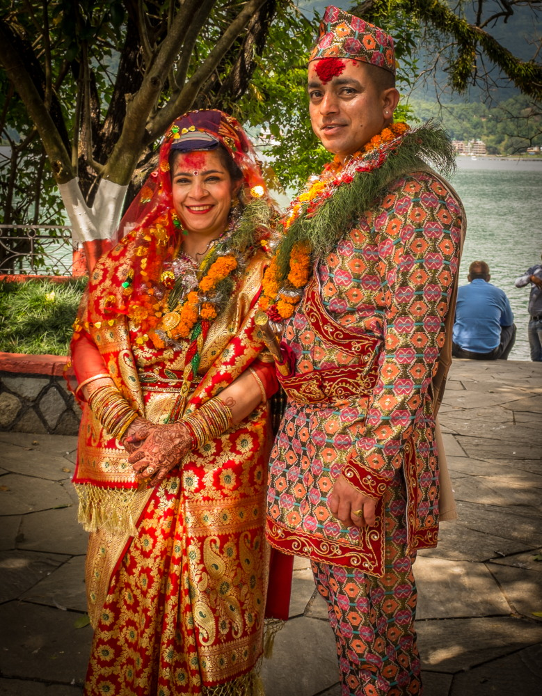 Bride and groom at Varahi Mandir, Phewa Tal, Pokhara. Photo: Sue Hankins